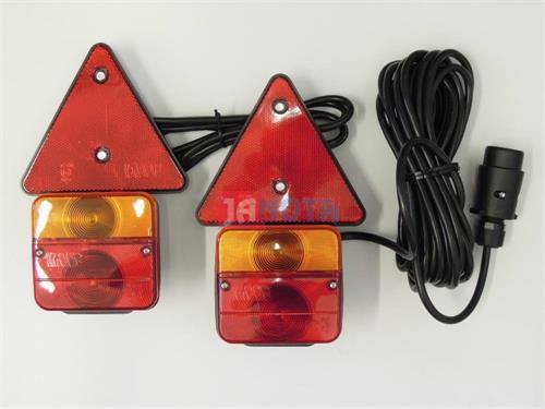 Zadní světlo hranaté na vozík na magnet s kabeláží