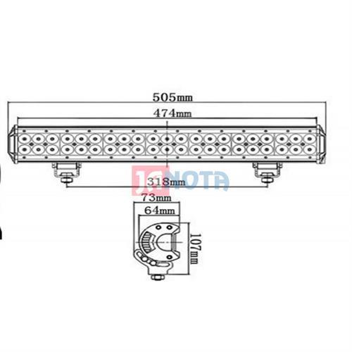 LED rampa panel dvouřadá rozptylová 126W 12V / 24V 505mmm