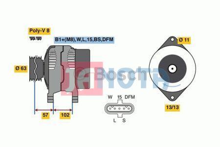 Alternátor Bosch 0124655102, 21561402, 7421561402, Volvo Truck, 24V/150A